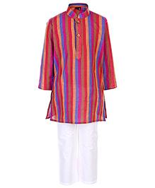 Babyhug Full Sleeves Kurta And Pajama Multi Stripes Print - Multi Colour