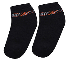Cute Walk Ankle Length Socks - Black And Orange