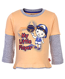 Bodycare Doctor Sleeves T-Shirt Light Orange - My Little Player Print - 6 to 12 Months