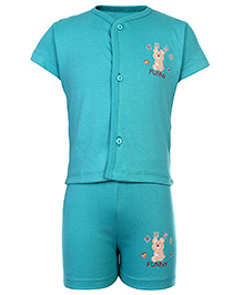 Babyhug Front Open Half Sleeves T-Shirt And Shorts - Aqua Green