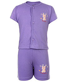 Babyhug Front Open Half Sleeves T-Shirt And Shorts - Purple