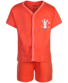 Babyhug Front Open Half Sleeves T-Shirt And Shorts - Light Red