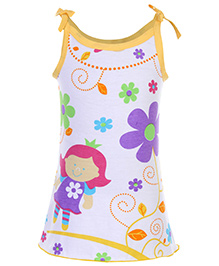 Babyhug Spaghetti Strap A Line Knitted Frock Flower Print - White And Yellow