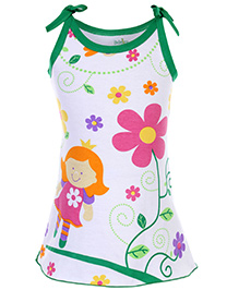 Babyhug Spaghetti Strap A Line Knitted Frock Flower Print - White And Green