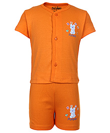 Babyhug Front Open Half Sleeves T-Shirt And Shorts - Orange