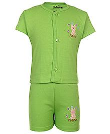 Babyhug Front Open Half Sleeves T-Shirt And Shorts - Green