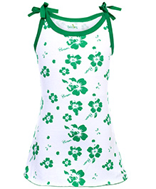 Babyhug Spaghetti Strap A Line Frock Blossom Flower Print - Green And White
