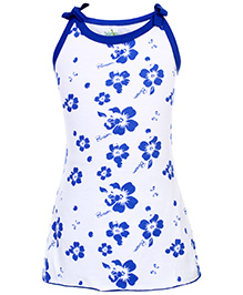 Babyhug Spaghetti Strap A Line Frock Blossom Flower Print - Blue And White