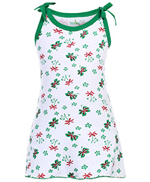 Babyhug Spaghetti Strap A Line Knitted Frock Flower Print - Green And White