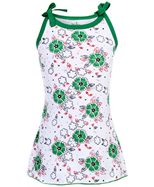 Babyhug Spaghetti Strap A Line Knitted Frock Flowers Print - Green And White