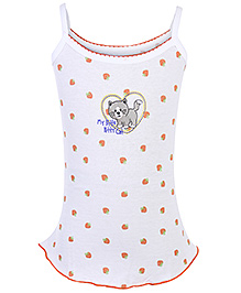 Sublime Singlet Camisole My Little Kitty Cat Print - White And Orange