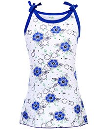 Babyhug Spaghetti Strap A Line Knitted Frock Flowers Print - Blue And White