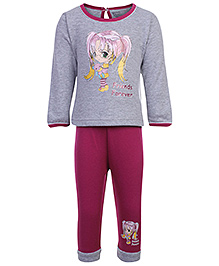 Bodycare Full Sleeves T-Shirt And Pants Friends Forever Print - Grey