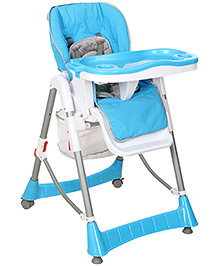 Fab N Funky Baby High Chair With Wheels - Blue