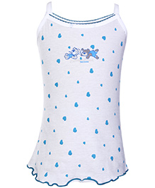 Sublime Singlet Camisole Plain Heart Print - White And Blue