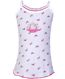Sublime Singlet Camisole Plain My Secret Print - White And Pink