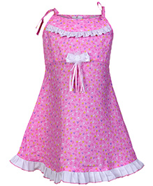 Babyhug Singlet Frock With Lace Design - Pink