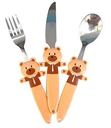 EZ Life Funky 3 Piece Kids Cutlery Set - Bouncy Bear
