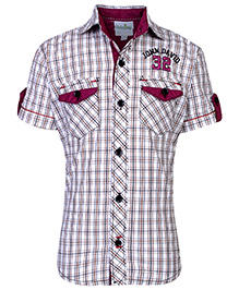 Babyhug Half Sleeves Check Printed Shirt - Maroon