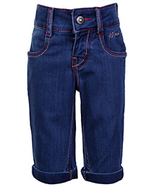 Gini and Jony Quarter Length Denim Pant With Turn Up Bottom - Blue