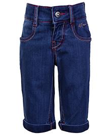 Gini and Jony Quarter Length Denim Pant With Turn Up Bottom - Blue