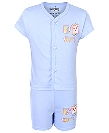 Babyhug Half Sleeves Night Suit - Funny Print
