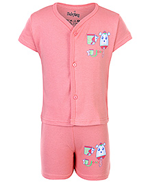 Babyhug Half Sleeves Night Suit - Funny Print