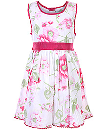 Babyhug Sleeveless Frock With Floral Print - Pink and White