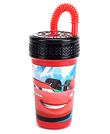 Disney Pixar Cars Sipper Bottle With Straw Red And Black - 400 Ml - 400 Ml