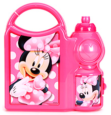 Disney Minnie Mouse Lunch Box With Attached Water Bottle And Carry Handle - Pink