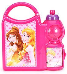 Disney Princess Designed Lunch Box With Attached Water Bottle And Princess Print - Pink