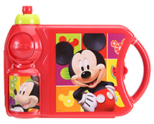 Mickey Mouse And Friends Lunch Box With Attached Water Bottle - Red