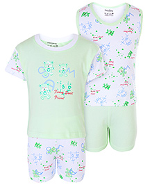 Babyhug 4 Piece Set - White And Light Green