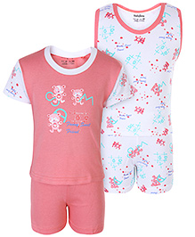 Babyhug 4 Piece Set - White And Pink