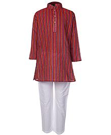 Babyhug Full Sleeves Kurta Pajama Set Stripes Print - Red
