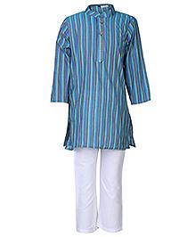 Babyhug Full Sleeves Kurta Pajama Set Stripes Print - Blue
