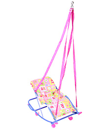 Mothertouch Swing Cum Rocker Teddy And Flower Print - Pink