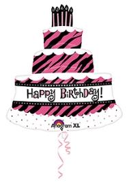 Wanna Part Cake Shape Balloon - Black And pink