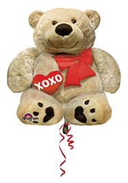 Wanna Party Balloon Cuddly Bear 28 Inches - Beige