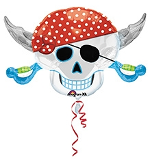 Wanna Party Balloon Pirate Themed 28 Inches - White And Red