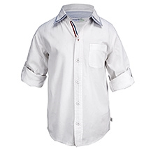 ShopperTree Full Sleeves Double Collar Shirt - White