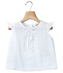 Beebay Cap Sleeves Self Embroidered Top - White