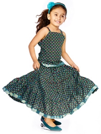 DotnDitto Singlet Top and Long Skirt Set - Sea Green
