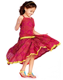 DotnDitto Singlet Top and Long Skirt Set - Pink and Yellow