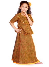 DotnDitto Printed Ghagra And Choli Set - Yellow and Green
