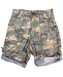 Babyhug Turn Up Pattern Shorts Green - Butterfly Print