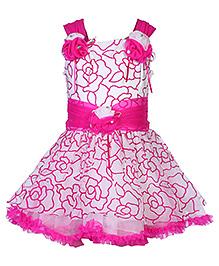 Babyhug Singlet Flower Printed Frock - Pink