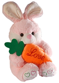 Soft Buddies Bunny With Carrot - Pink - 10 X 16 X 10 Inches