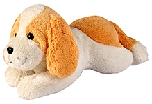 Soft Buddies Lazy Dog Soft Toy - White And Brown - 8 X 18 X 9 Inches