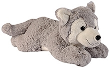 Soft Buddies Lazy Dog Soft Toy - Husk Grey - 8 X 18 X 9 Inches